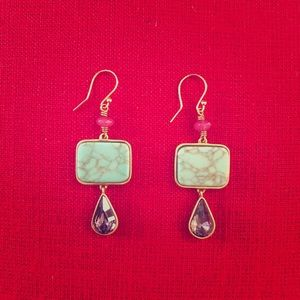 Silpada KR Gold & Turquoise Drop Earrings